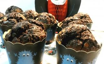 Muffins al triplo cioccolato nei pirtottini di Halloween