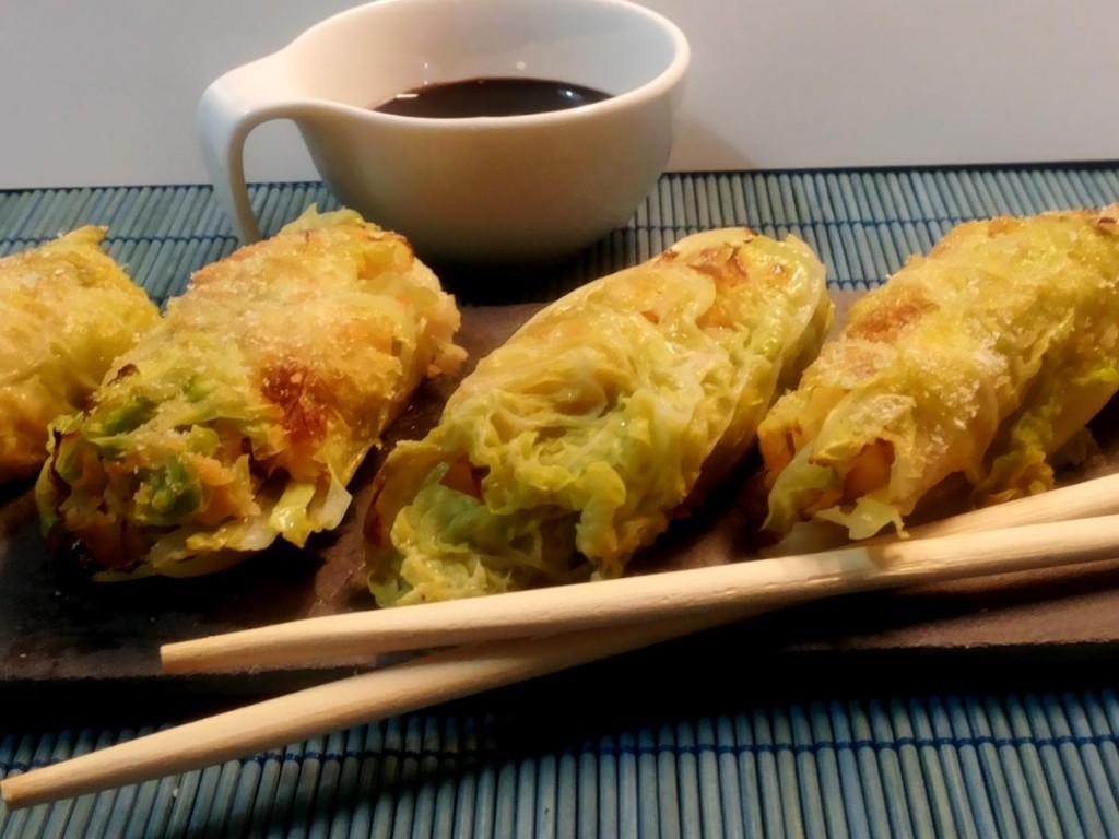 Involtini di verza riccia ripieni di merluzzo e verdure - ricetta light