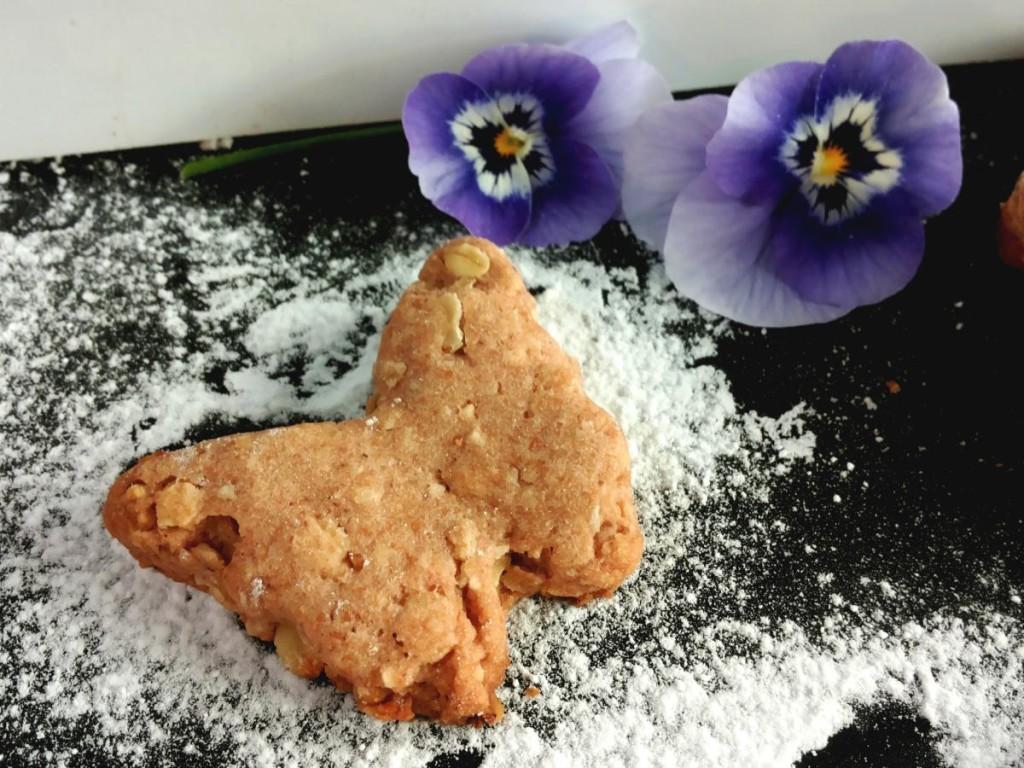 biscotti con fragole, nocciole, farina integrale, avena e zucchero di canna senza uova nè lattnè burro