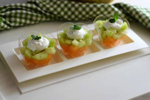 Finger food di melone cetriolo e menta
