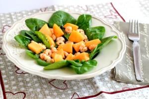 Insalata di spinacino con melone e gamberetti