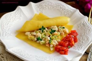 Raviolo aperto di pasta allo zafferano