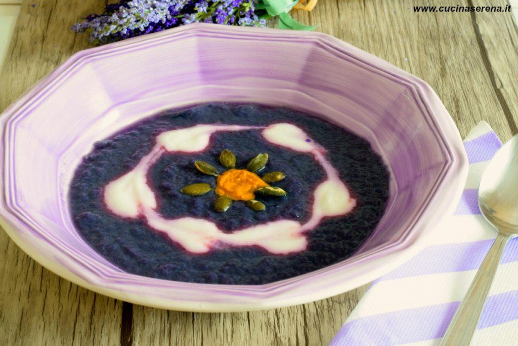 Vellutata di cavolo viola patate e verza