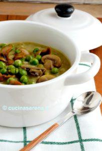 Zuppa rustica funghi e piselli