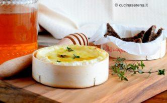 Antipasto formaggio Camembert servito con miele