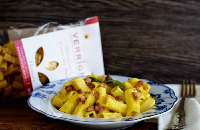 pasta verrigni con peperoni giallo