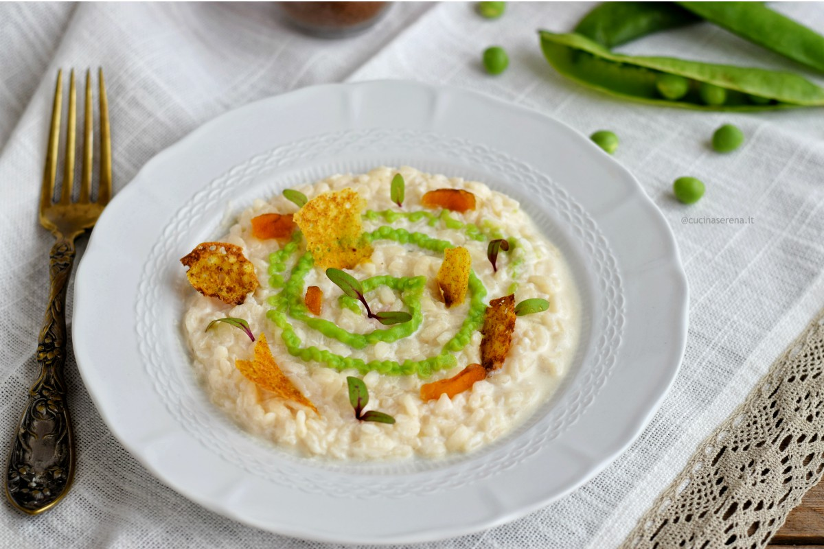 Risotto crema di burrata crema di piselli e bottarga in due consistenze