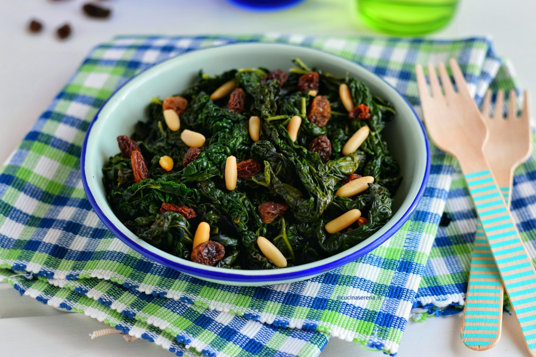 Curly kale with raini and pine nuts