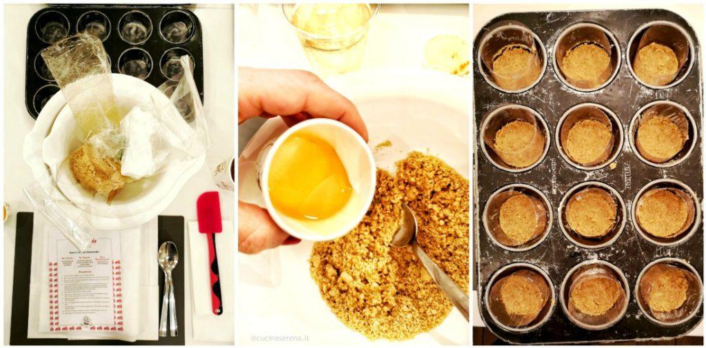 Collage in cui si vedono tutti gli ingredienti e le attrezzature necessari per realizzare la cheesecake (prima foto del collage). Foto del miele che sta per essere versato nel composto di biscotti e burro fuso per fare la base delle mini cheesecakes (seconda foto del collage) e infine lo stampo da muffin con la base biscotto realizzata e sopra i fogli di acettaro per rendere liscia la crema una volt che satà solidificata (terza foto del collage).