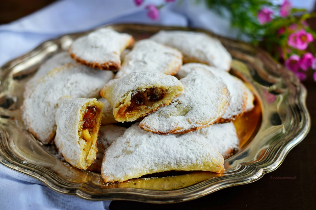 Crescent Shaped Pastries - patry made with walnuts dried apricot, raisin and apricot jam