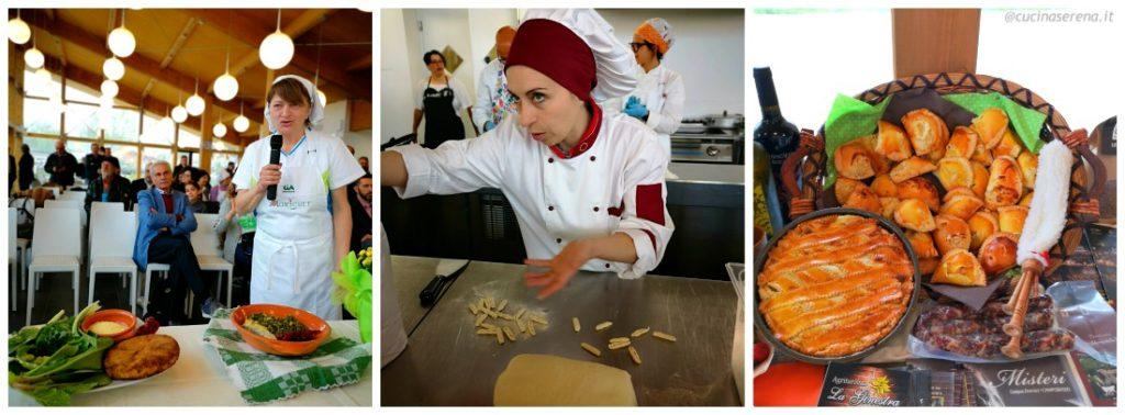Scene delle cucina Agrichef in azione durante la Finale festival Agrichef Cia