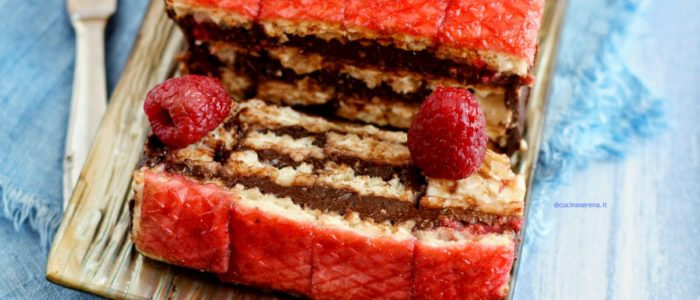 wafer cake with chocolate and raspberries