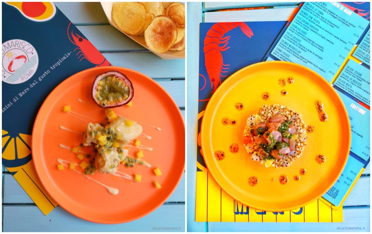 Piatti dal menu di O Rei di Marisco locale d'ispirazione Capo Verdiano, nella foto razza fritta e insalata di quinoa con crudo di pesce