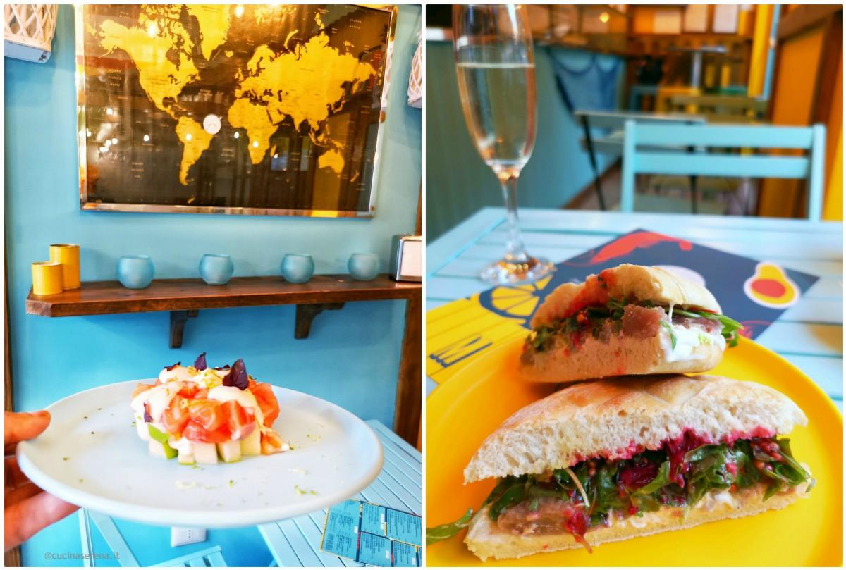 Piatti dal menu del locale O Rei do Marisco:  tartare di salmone, mela verde e maionese agli agrumi e panino al tonno fresco, burrata, rucola e melograno