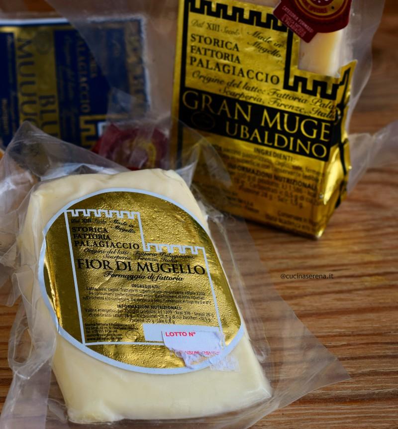 Tris di formaggio forniti dal Palagiaccio per il contest Latti da mangiare 5.0 Fio di Mugello, Gran Mugello, Blu di Mugello.