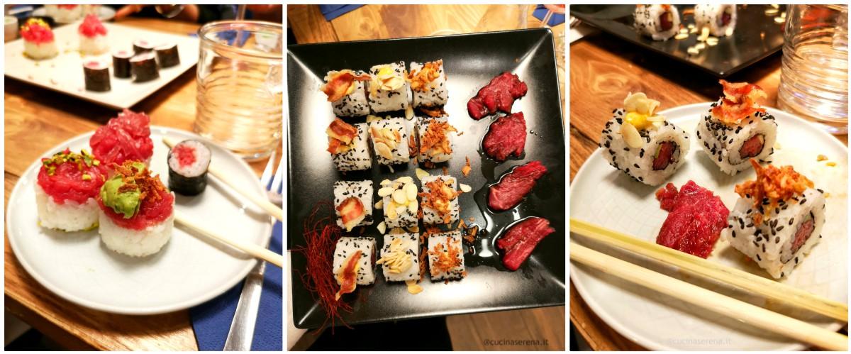Fassangue il menu: nella foto i piatti del menu, sushi,sashimi, onogiri