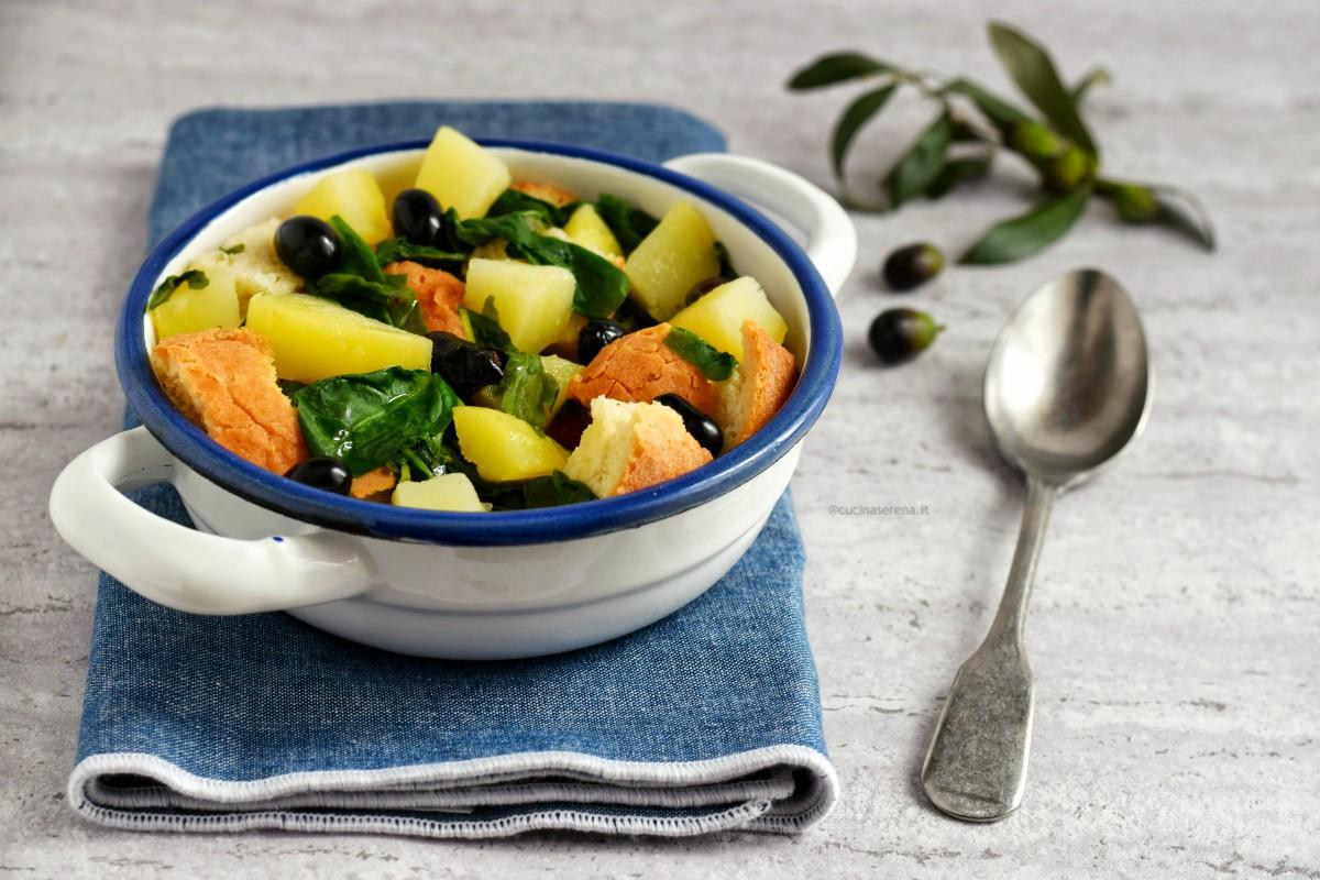 pancotto pugliese con patate rucola selvativa e olive