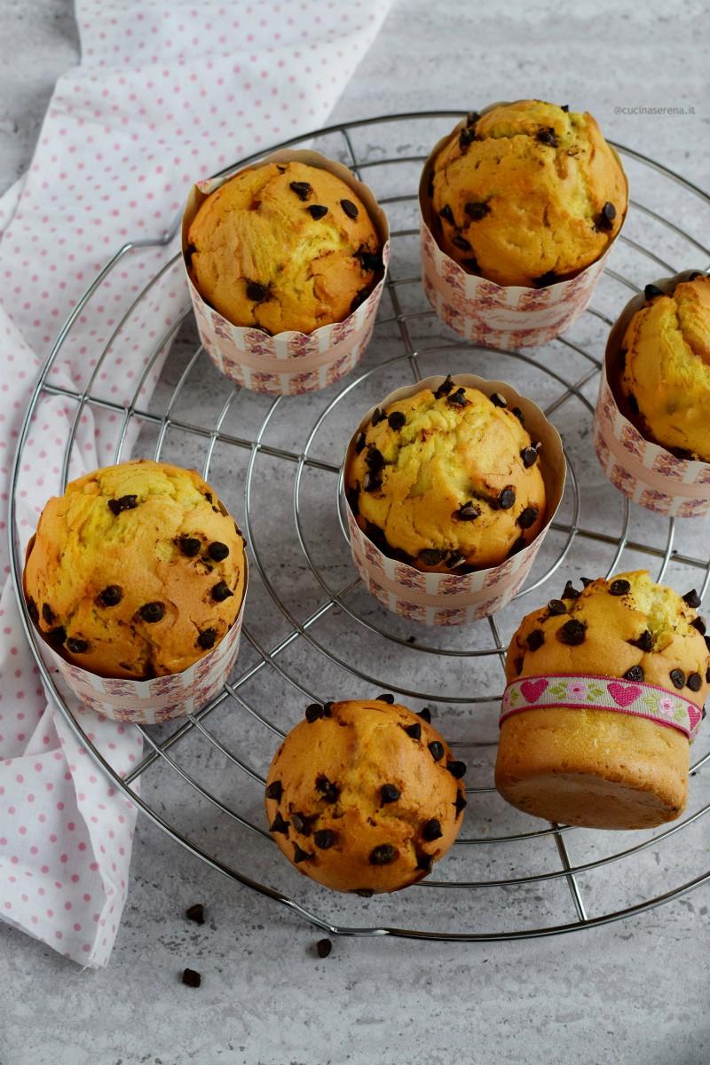 American muffin all'olio con gocce di cioccolato un remake in chiave light di un dolce classico della pasticceria americana.