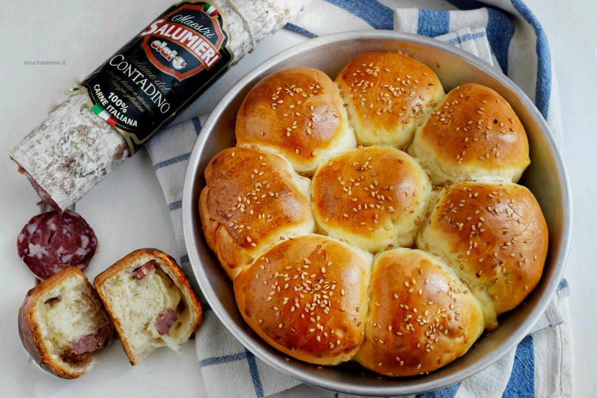 Danubio salato con salame e provolone, nella foto presentato in una teglia accanto un panino aperto e il salame contadino Clai Salumi