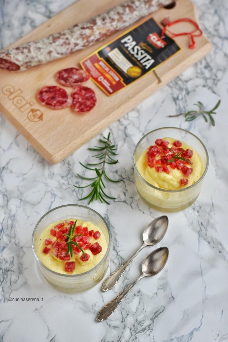 Crema di polenta al latte con salsiccia passita Clai un modo diverso di mangiare la polenta
