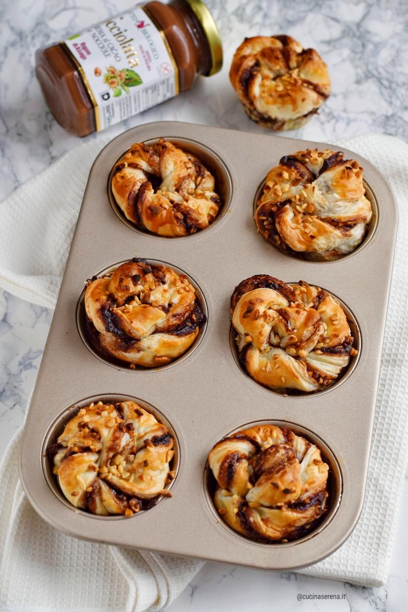 Muffin di sfoglia con nocciolata Rigoni - Cucina Serena