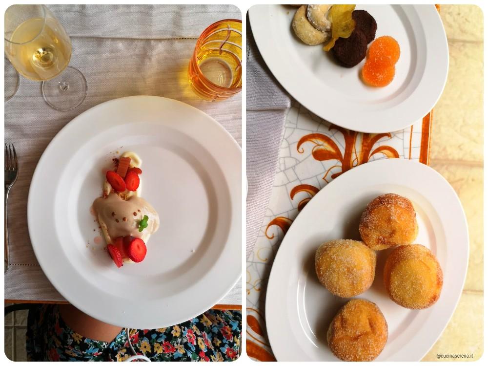 Loncada Petreja proposta dei dessert dello chegf Glowing a Borgo Petroro