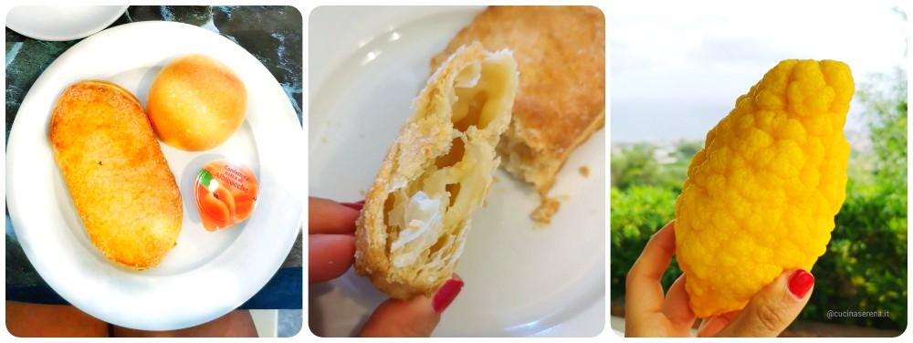 prodotti tipici di Procida; limoni di Procida e la lingua di Procida fatta di pasta sfoglia ripiena di crema o crema al limone