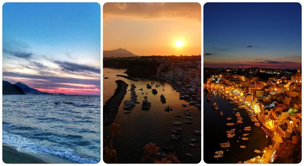 L'incanto dei tramonti procidiani a settembre, sfumature di colore dal viola, rosa, grigio blu e arancio